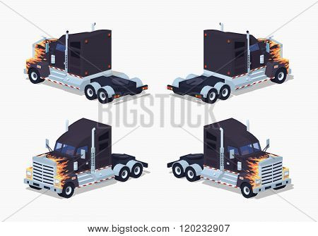 Black heavy american truck with the fire pattern