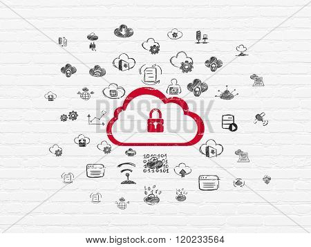 Cloud technology concept: Cloud With Padlock on wall background