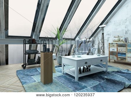 Beautiful hipster loft decorated with various objects on and around white table over blue carpet below large slanted windows. 3d Rendering.