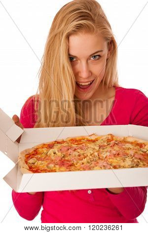 Woman With Big Pizza In Carton Box Can't Wait To Eat It.