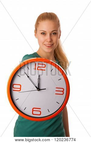 Blonde Woman Holding Big Clock In Hand Isolated Over White.
