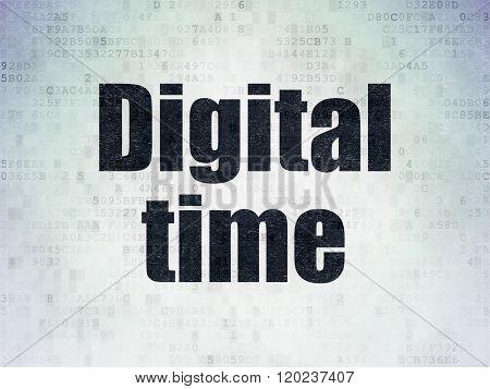 Time concept: Digital Time on Digital Paper background