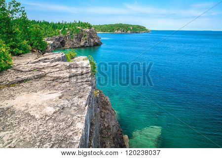 Landscape natural view on great Cyprus lake at beautiful gorgeous Bruce Peninsula, Ontario