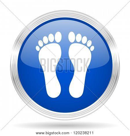 foot blue silver metallic chrome web circle glossy icon