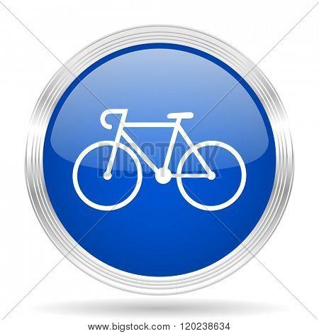 bicycle blue silver metallic chrome web circle glossy icon