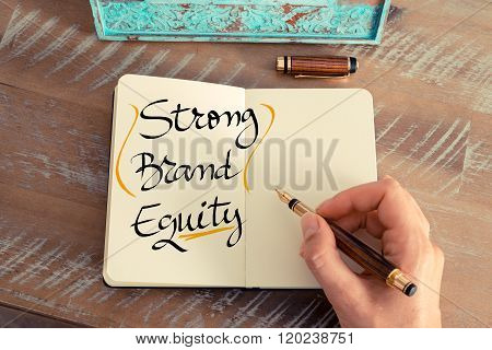 Handwritten Text Strong Brand Equity