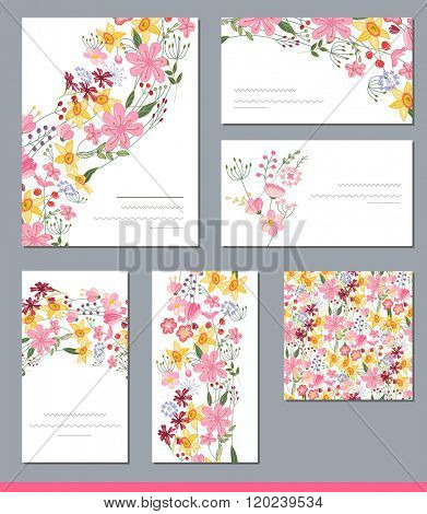 Floral spring templates with cute bunches of bright flowers. For romantic and easter design, announcements, greeting cards, posters, advertisement.  Includes endless texture