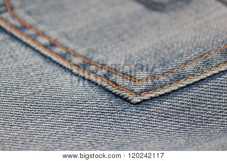Stitched seam in jeans