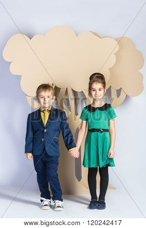 Love concept. Couple of kids. boy and girl