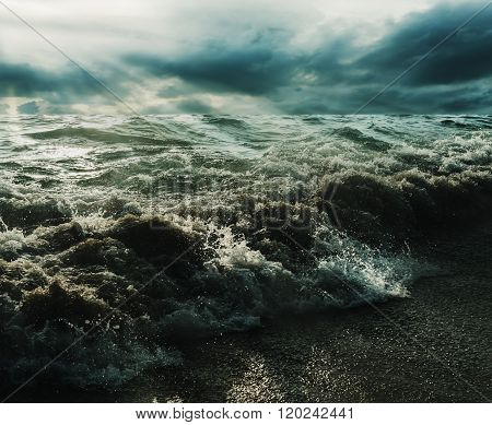 Sea And Beach Storm With Sunrays In Over Dark Tone