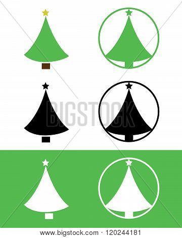 Christmas Tree Icon Set in Colour, Black and Reverse