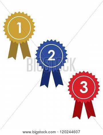Winner and Runner Up Ribbon Set - Vector