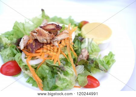 Fresh chiken salad Healthy food on the table in the kitchen