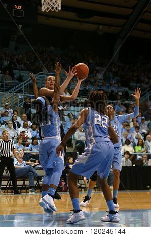 CHAPEL HILL, NC-FEB 28: Duke Blue Devils guard Rebecca Greenwell (23) goes up for a shot against the University of North Carolina Tar Heels on February 28, 2016 at Carmichael Arena.