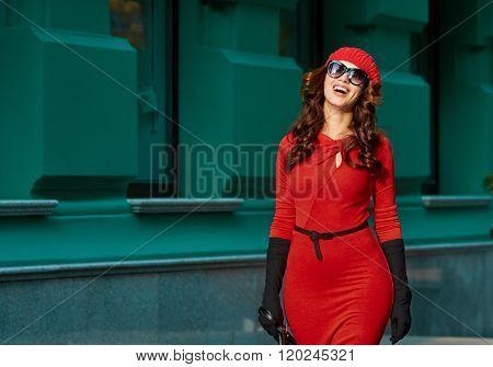 Fashion Lady In Red Dress. city portrait