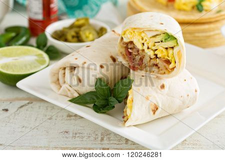 Breakfast burritos with eggs and potatoes