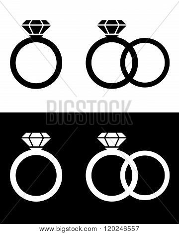 Vector wedding and engagement ring set in black and reverse