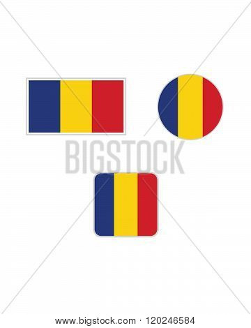 Vector Romanian Flag and Icon Set
