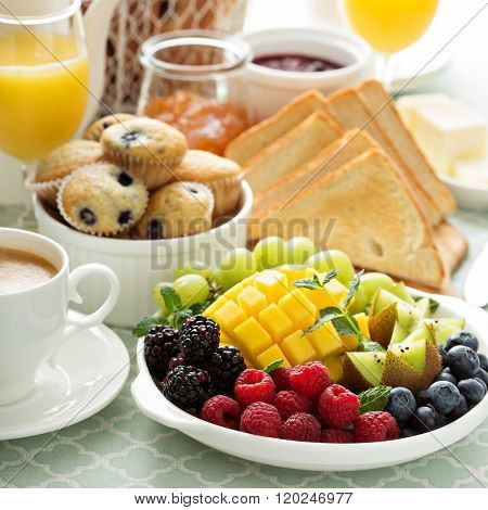 Fresh and bright continental breakfast table