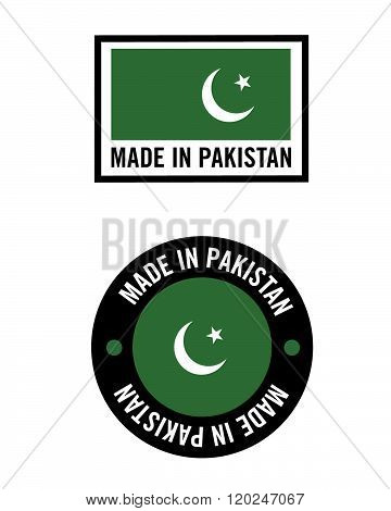 Vector Made in Pakistan Icon and Flag Set
