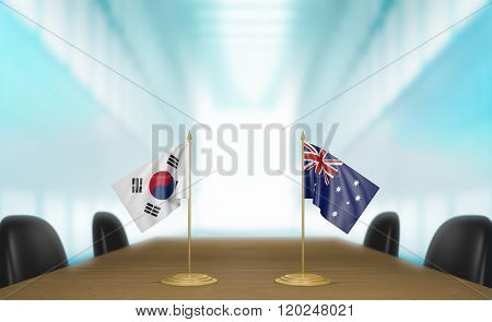 South Korea and Australia relations and trade deal talks 3D rendering