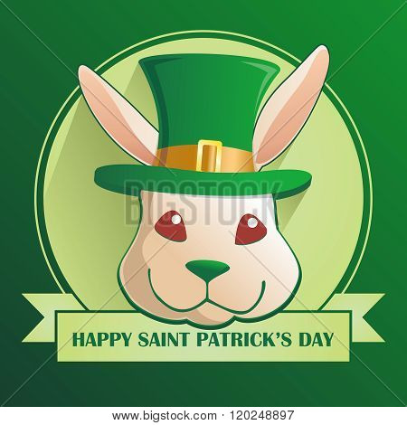 Vector Cartoon Easter Bunny Head with Saint Patrick's Top Hat