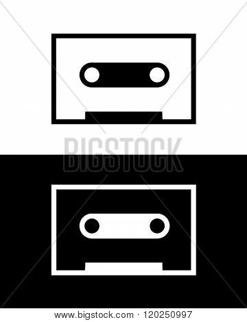 Vector Silhouette of a Cassette Tape in Black and Reverse