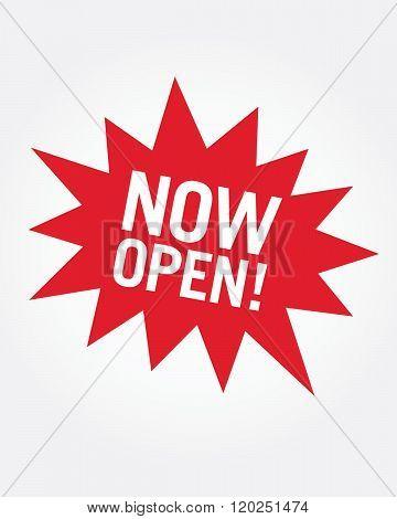 Vector 'Now Open' Retail Star burst Icon