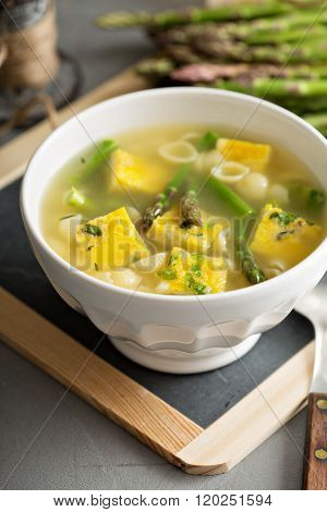 Homemade asparagus and frittata soup