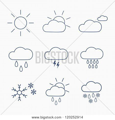 Set Of Weather Icons For Design Of Web Interface Or Mobile Widget