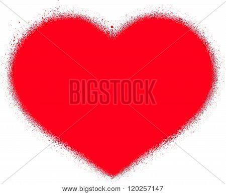 sprayed red graffiti grunge heart over white