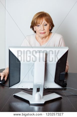 Senior Woman Using Computer In Class