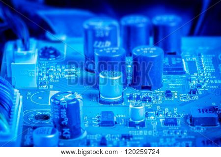 Power Capacitors And Chips In Blue Color