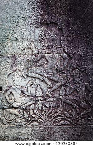 Bas relief in Banteay Srei, Cambodia