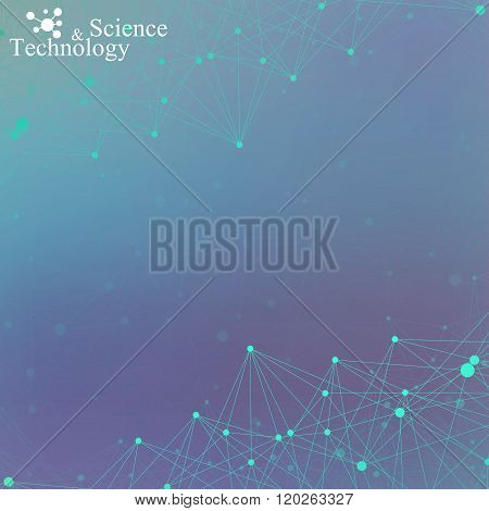 Geometric abstract background with connected lines and dots for your design.  Vector illustration