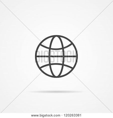Globe earth vector flat  icon on the grey background