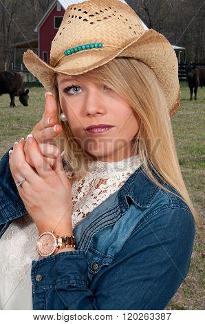 Woman Finger Gun