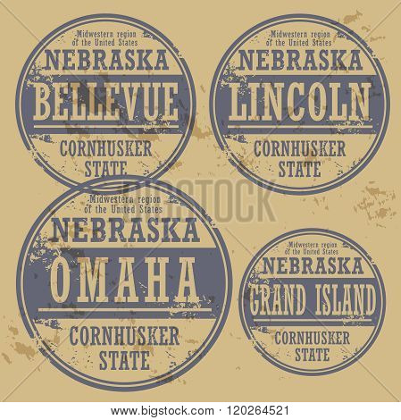 Grunge Rubber Stamp Set With Names Of Nebraska Cities