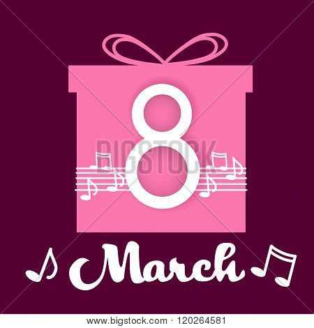 March International Women Day Greeting Card Present Box Music Note