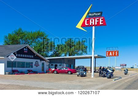 Adrian, U.S.A. - May 21 2011: Texas, the Mid Point Cafe on the Route 66.