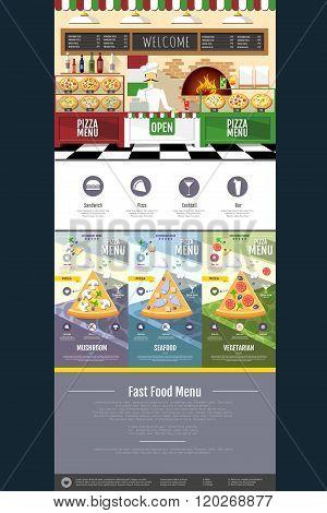 Flat Style Pizza Menu Concept Web Site Design. Interior Design