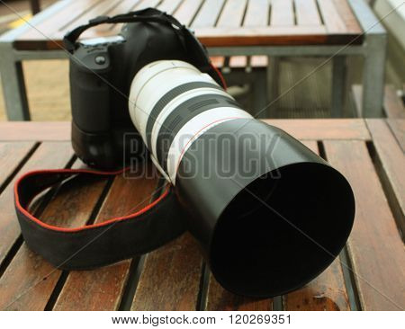 Professional Digital Photo Camera With Tele Lenses