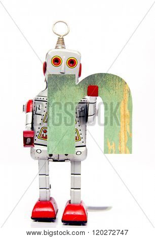 retro robot with the letter  n