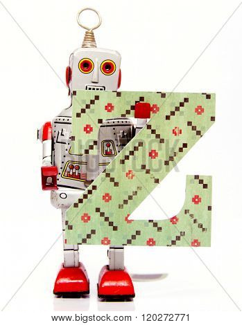 retro robot with the letter  Z