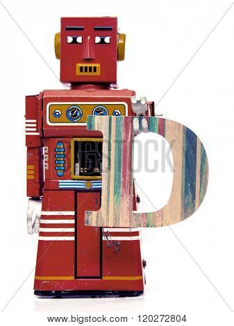 retro robot with the letter  D