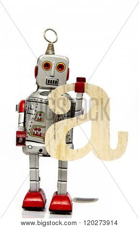 retro robot with the letter  a