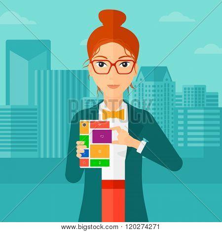 Woman with modular phone.