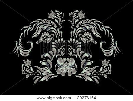 Silver floral pattern.
