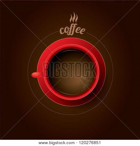 red cup of coffee. flat lay coffee mug
