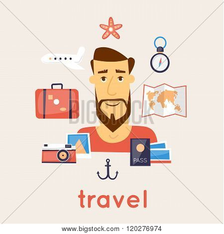 Travel the world. Man on vacation. character design. Vector illustration flat design.